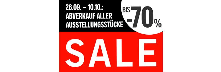 SALE 26.9.-10.10.: Abverkauf aller Ausstellungsstücke!